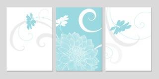 fondo floral del Mano-dibujo con las dalias de la flor Tarjeta de felicitación con estilo Fotografía de archivo libre de regalías