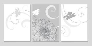 fondo floral del Mano-dibujo con las dalias de la flor Tarjeta de felicitación con estilo Imagen de archivo libre de regalías