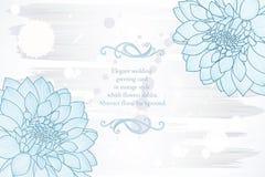 fondo floral del Mano-dibujo con las dalias de la flor Tarjeta de felicitación con estilo Ilustración del vector Foto de archivo libre de regalías