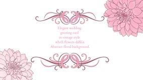 fondo floral del Mano-dibujo con las dalias de la flor Tarjeta de felicitación con estilo Ilustración del vector Fotografía de archivo libre de regalías