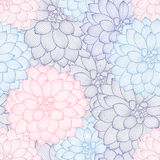 Fondo floral del mano-dibujo inconsútil con las dalias de la flor Fotografía de archivo