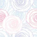 Fondo floral del mano-dibujo inconsútil con las rosas de la flor Fotos de archivo libres de regalías