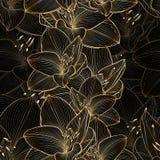 Fondo floral del mano-dibujo inconsútil de oro con la amarilis de la flor Imagen de archivo