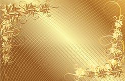 Fondo floral del marco del oro Imagen de archivo