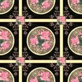 Fondo floral del modelo de la textura de la materia textil de las rosas retras del remiendo Foto de archivo libre de regalías