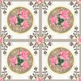 Fondo floral del modelo de la textura de las rosas rosadas retras del remiendo Imagenes de archivo