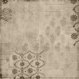 Fondo floral del sello del batik del estilo de la vendimia de Brown Foto de archivo libre de regalías