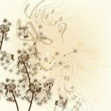 Fondo floral del vector con los dientes de león y las notas ilustración del vector