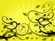 Fondo floral del ventilador amarillo stock de ilustración