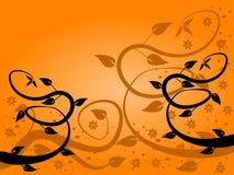 Fondo floral del ventilador anaranjado ilustración del vector