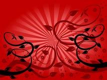 Fondo floral del ventilador rojo Imagen de archivo