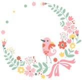 Fondo floral del vintage con el pájaro lindo en pastel libre illustration