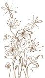 Fondo floral drenado mano Fotografía de archivo libre de regalías