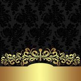 Fondo floral elegante con la frontera de oro Fotografía de archivo