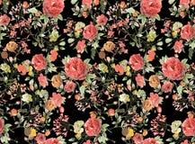 Fondo floral inconsútil Fondo colorido tropical del negro del estampado de plores de la acuarela del modelo ilustración del vector
