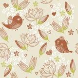 Fondo floral inconsútil con los pájaros Foto de archivo libre de regalías