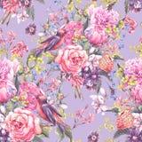 Fondo floral inconsútil de la acuarela Imagen de archivo libre de regalías