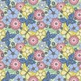 fondo floral inconsútil de la textura del modelo de mariposas Imagenes de archivo