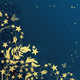 Fondo floral mágico con los curles de oro.   Fotos de archivo libres de regalías