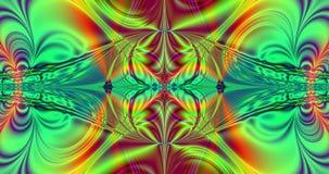 Fondo floral ondulado plástico hermoso del fractal con un modelo ondulado móvil detallado que va del centro con un símbolo del in ilustración del vector