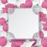 Fondo floral oriental con las flores de loto rosadas y el marco cuted adornado chino Imagen de archivo libre de regalías