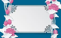 Fondo floral oriental con las flores de loto rosadas y el marco cuted adornado chino Fotos de archivo libres de regalías