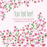 Fondo floral Ramo floral de la acuarela Tarjeta de cumpleaños Marco decorativo floral El tiempo de primavera… subió las hojas, fo Fotografía de archivo libre de regalías