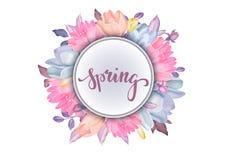 Fondo floral realista con las flores hermosas aisladas en w stock de ilustración