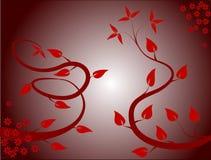 Fondo floral rojo oscuro stock de ilustración