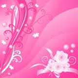 Fondo floral rosado romántico del vector con las rosas Foto de archivo libre de regalías