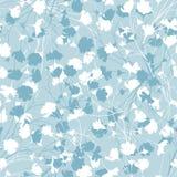 Fondo floral simple con las flores blancas y azules Textura floral inconsútil exhausta Ornamento azul para adornar las telas, mat libre illustration