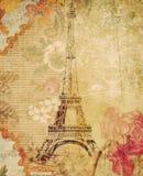Fondo floral sucio de París de la torre Eiffel Imágenes de archivo libres de regalías