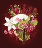 Fondo floral y del remolino Imagenes de archivo