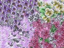 Fondo floreale astratto dell'acquerello con i bei fiori variopinti Fotografia Stock Libera da Diritti