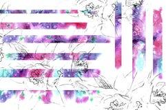 Fondo floreale con il contorno del fiore della matita e l'elemento dell'acquerello Fotografia Stock