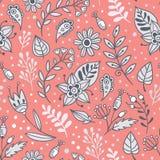 Fondo floreale con il rosa, foglie e piante di bianco e grige illustrazione vettoriale