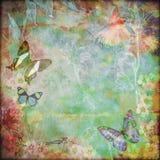 Fondo floreale d'annata della farfalla illustrazione di stock