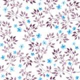 Fondo floreale d'annata senza cuciture con i fiori e le foglie svegli Arte dipinta acquerella illustrazione di stock