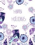 Fondo floreale decorativo con i fiori viola Fotografia Stock Libera da Diritti