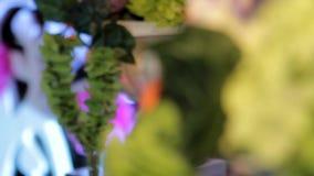 Fondo floreale, decorazioni festive, decorazione festiva, fiori in vasi, pom-poms di carta stock footage