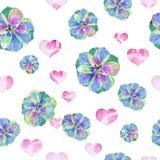 Fondo floreale del batik di lerciume di arte Colori pastelli di Stylization, acquerelli Contesto senza cuciture con i fiori Model Fotografie Stock