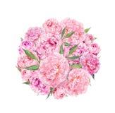 Fondo floreale del cerchio - fiori rosa della peonia watercolor illustrazione di stock