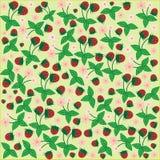 Fondo floreale del giardino delle bacche delle fragole del fiore del modello senza cuciture Fotografie Stock Libere da Diritti