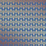 Fondo floreale della stagnola di oro e del blu Fotografie Stock