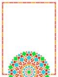 Fondo floreale della struttura della mandala del cerchio variopinto in verde ed in arancio su bianco, vettore Fotografie Stock Libere da Diritti