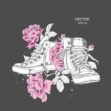 Fondo floreale delle peonie e delle scarpe Scarpe da tennis tirate nei bei colori Stampa delicata per l'abbigliamento, i taccuini fotografia stock libera da diritti