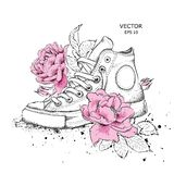 Fondo floreale delle peonie e delle scarpe Scarpe da tennis tirate nei bei colori Stampa delicata per l'abbigliamento, i taccuini immagini stock libere da diritti