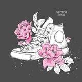 Fondo floreale delle peonie e delle scarpe Scarpe da tennis tirate nei bei colori Stampa delicata per l'abbigliamento, i taccuini immagine stock