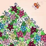 Fondo floreale di vettore, con la farfalla. Illustrazione Vettoriale