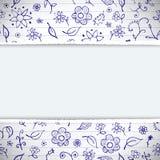 Fondo floreale impreciso di doodles dissipato mani illustrazione di stock